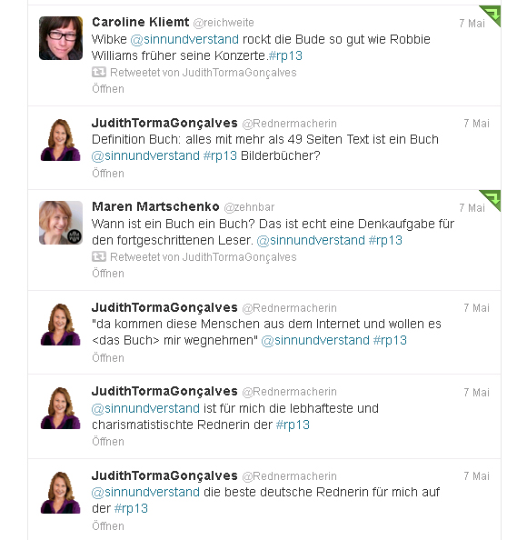 Tweets zur Session von Wiebke Ladwig #rp13 Stage 7