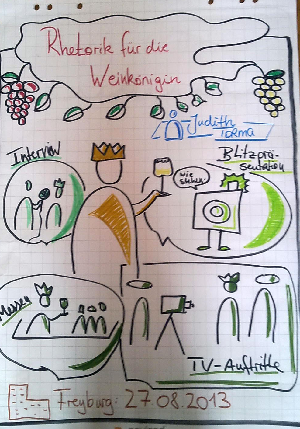 Rhetorik für Weinhoheiten Rhetorik für Weinköniginnen  Sehr gern nahm ich die Einladung nach Freyburg an und arbeitete dort mit wundervollen jungen Fachfrauen - der Weinkönigin. Unsere Themen:      Interviewtechniken,     Blitzpräsentationen     TV-Auftritte     Messen     Umgang mit unangenehmen Fragen     Körpersprache, Mimik, Gestik     Begeisterung ausdrücken